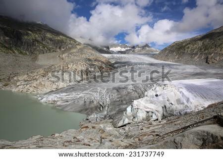 Rhone Glacier in the Swiss Alps. Europe - stock photo