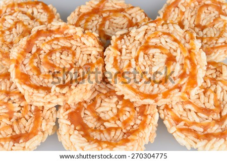 rice fired and sirup on top, Thailand food, - stock photo