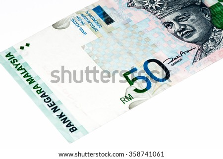 50 ringgits bank note. Ringgit is the national currency of Malaysia