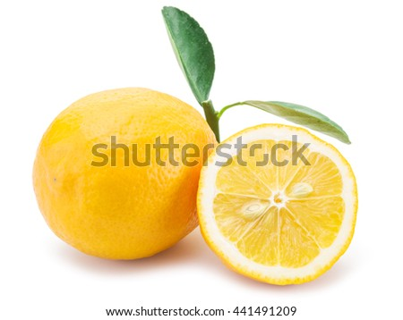 Ripe lemon fruits on the white background.