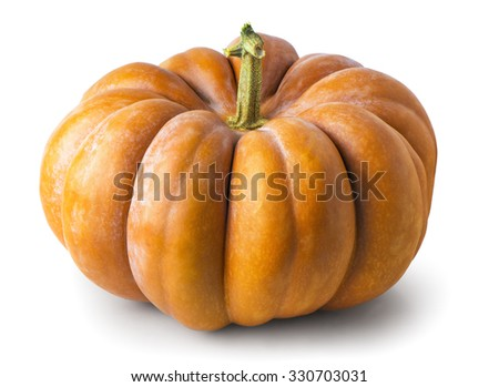 ripe pumpkin on a white background - stock photo