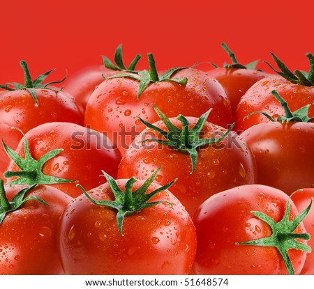 ripe tomatoes close up on red  background - stock photo