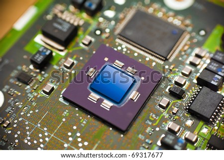 """risc"" microprocessor close up - stock photo"
