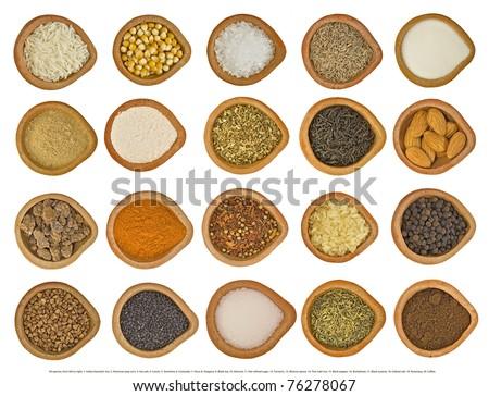 1. rise, 2. pop corn, 3. Sea salt, 4. Cumin, 5. Semolina, 6. Coriander, 7. Flour, 8. Oregano, 9. Black tea, 10. Almond, 11. Not refined sugar, 12. Turmeric, 13. Mixture spices, 14. Thai mali rice, - stock photo