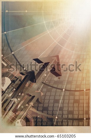 rising arrows and technology concept on textured  vintage paper - stock photo