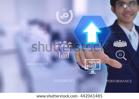Rising reliability, quality, efficiency, flexibility and  performance concept presented by  businessman touching on  virtual  screen  - stock photo