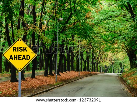 """RISK AHEAD"" sign against road in green forest - Business concept"