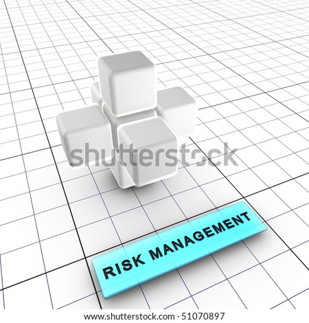 2-Risk management (2/6) Budget, quality, performance and schedule managements integrate risk management. 6 figures depict risk management process and interactions. - stock photo