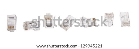 7 RJ-45 connectors for twisted pair different looks - stock photo