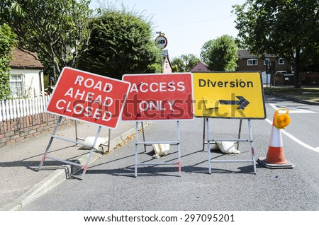 'Road ahead closed' traffic sign conceptual image, England UK.