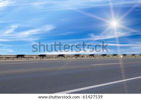 Road  asphalted   protection sun - stock photo