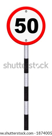 road sign indicating a speed limit - stock photo