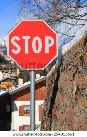 "road sign: ""Stop"" - stock photo"