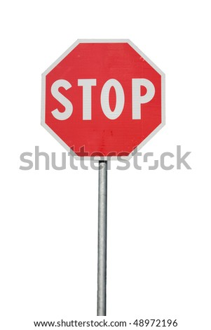 Road sign Stop, isolated on wite background - stock photo