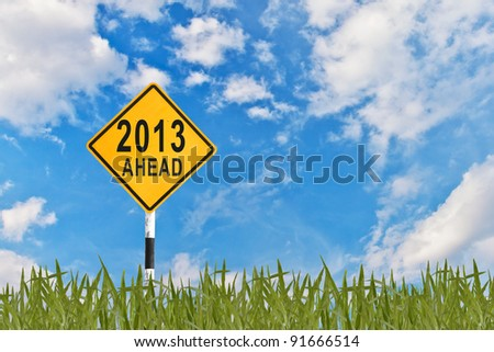 2013, Road sign to new year - stock photo