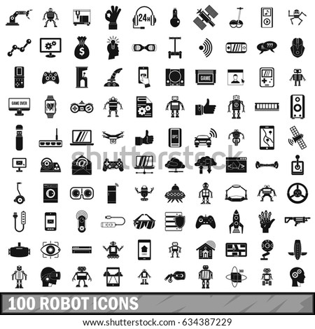 100 robot icons set in simple style for any design  illustration