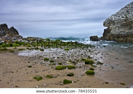 Rocks in a lonly beach - stock photo