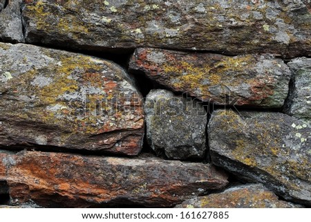Rocks wall overgrown with moss and fungi found on high elevation in Alps mountains - stock photo