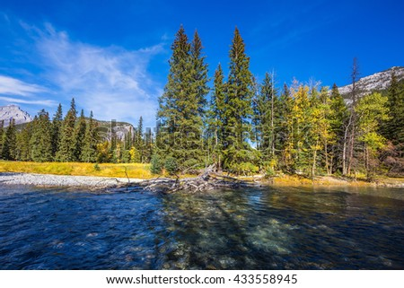 Rocky Mountains, Canada. Mountain valley and beneaped river near the town of Banff - stock photo