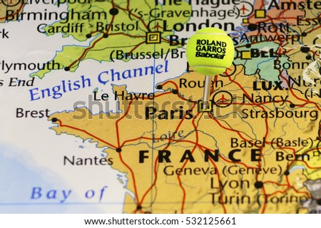 Roland Garros Official Tennis Ball Stock Illustration - Paris map 2016