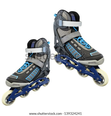 rollers under the white background - stock photo