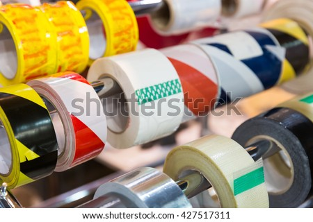 Rolls of packing scotch tapes - stock photo