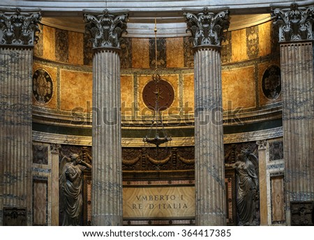 ROME, ITALY - JUNE 15, 2015:  Pantheon in Rome, Italy . Pantheon was built as a temple to all the gods of ancient Rome, and rebuilt by the emperor Hadrian about 126 AD.  - stock photo