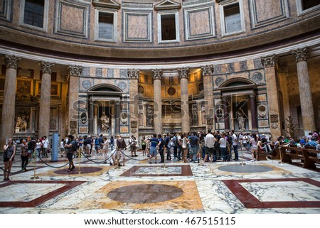 ROME, ITALY - JUNE 15, 2015:  Pantheon in Rome, Italy . Pantheon was built as a temple to all the gods of ancient Rome, and rebuilt by the emperor Hadrian about 126 AD.