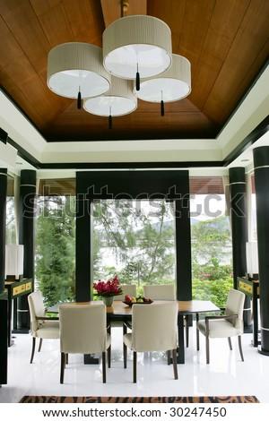 room, window, table, interior, flower, chandelier, - stock photo