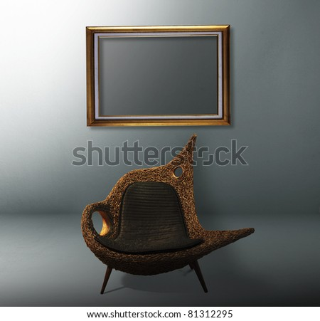 room with chairs and a wooden frame - stock photo