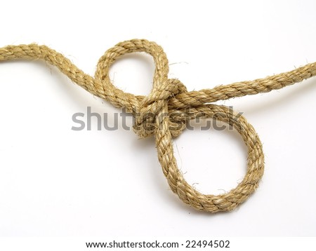 rope knot with isolated white background - stock photo