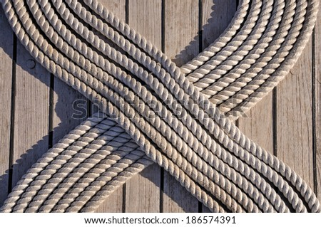 Rope on the ship deck - stock photo