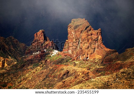 Roque Bentayga, landmark of Gran Canaria in sunset light, Canary islands, Spain