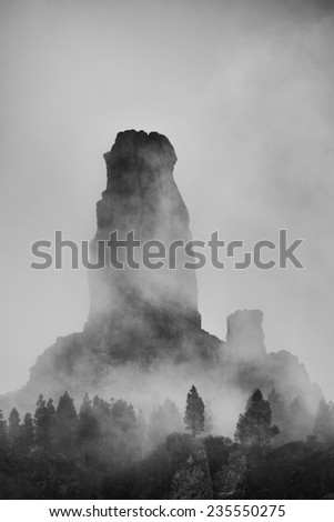 Roque Nublo, natural monument of Gran canaria, Canary islands, Spain - stock photo