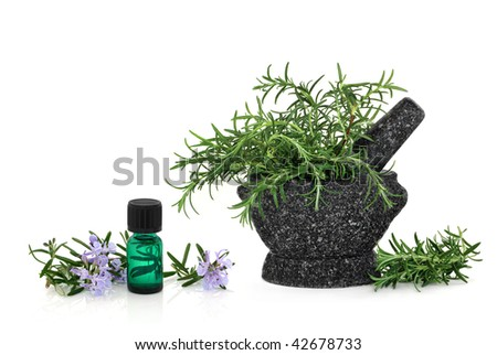 Rosemary herb with flowers and an aromatherapy essential oil glass bottle, with leaf sprigs in a granite mortar with pestle, over white background. - stock photo
