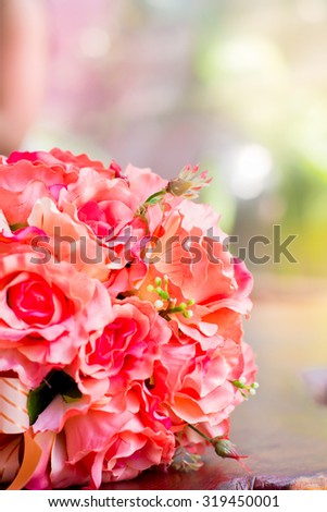 Roses Bouquet  flower bright and blur background.