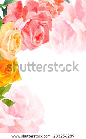 roses  watercolor hand-painted background