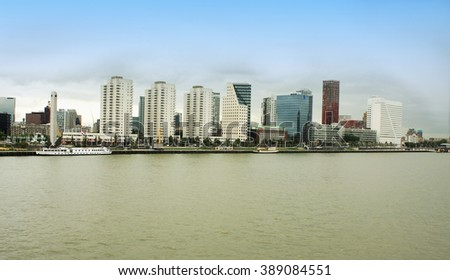 Rotterdam, the Netherlands- august 18. 2015 - City of Rotterdam downtown skyline by the river in South Holland, the Netherlands.
