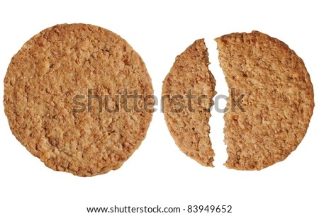 round biscuit isolated on white background - stock photo