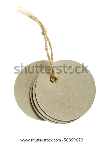 round cardboard blank tag label with string isolated on white background - stock photo