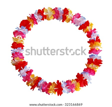 Round circle colorful Hawaiian lei with bright colorful flowers - stock photo