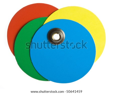 round  colored blank price tag isolated on white - stock photo