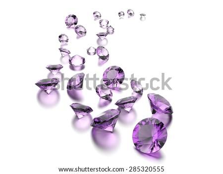 Round shape gemstone on  white. Jewelry background - stock photo