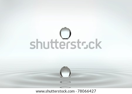round water drops - stock photo