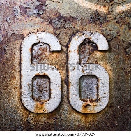 66 route americana sign texture units and the number of iron rust - stock photo