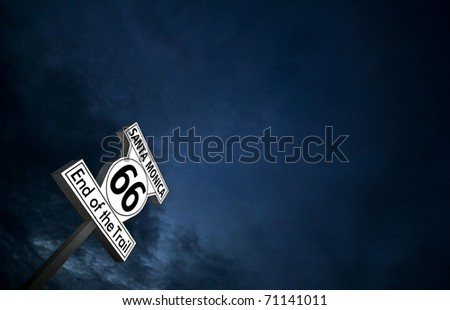 """""""Route 66"""" end of the line - Santa Monica - stock photo"""