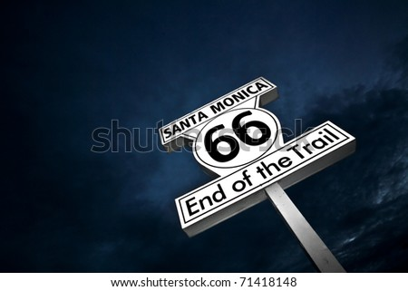 """Route 66"" end of the line - Santa Monica - stock photo"