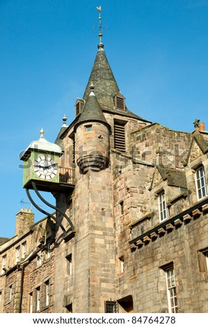 Royal Mile. fragment of the house. The Royal Mile is a succession of streets which form the main thoroughfare of the Old Town of the city of Edinburgh in Scotland. - stock photo