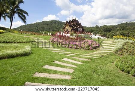 Royal Park Rajapruek traditional thai architecture in the Lanna style Chiang Mai Thailand - stock photo