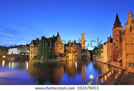 """Rozenhoedkaai"" Bruges, Belgium - stock photo"